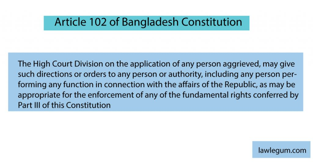 article 102 of Bangladesh constitution