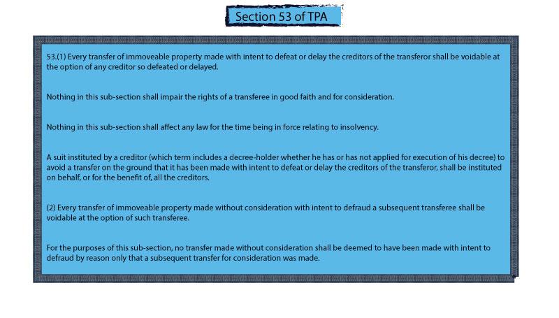 Fraudulent Transfer Section 53 of tpa